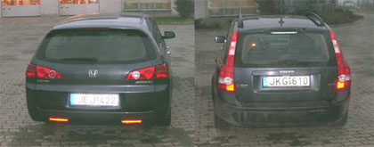 Accord Tourer és a Volvo V50 a sötétben